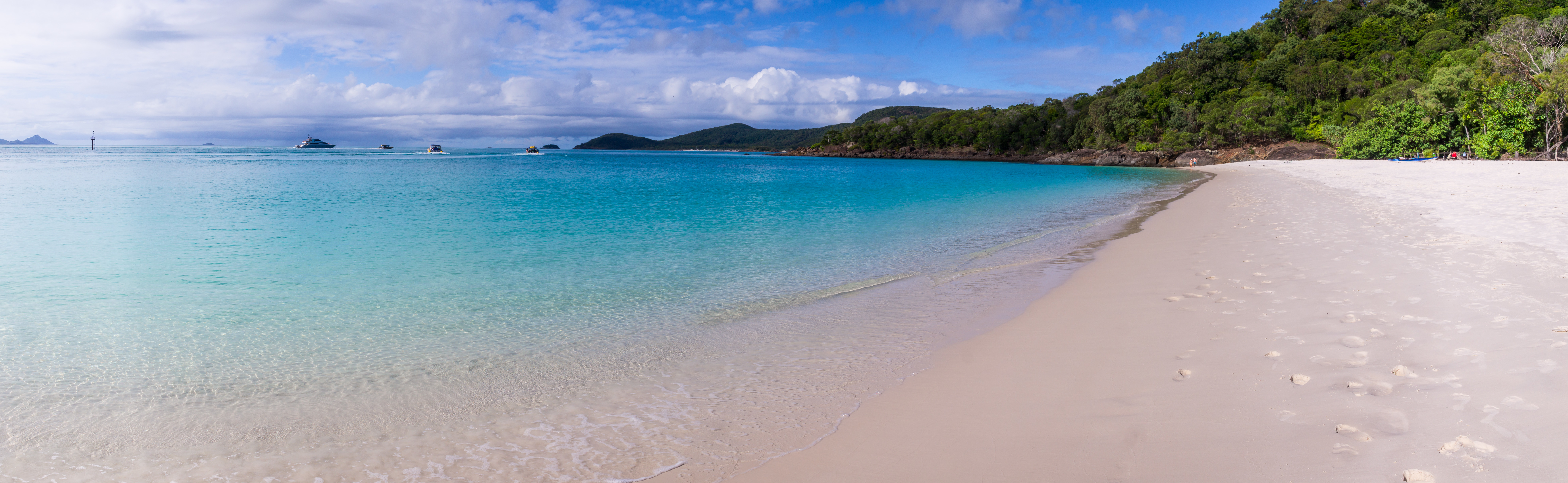 Panorama of Whitehaven beach at Whitsunday Island in Queensland, Australia. Whitehaven beach is a well known landmark known for its beautiful white sand and clear waters